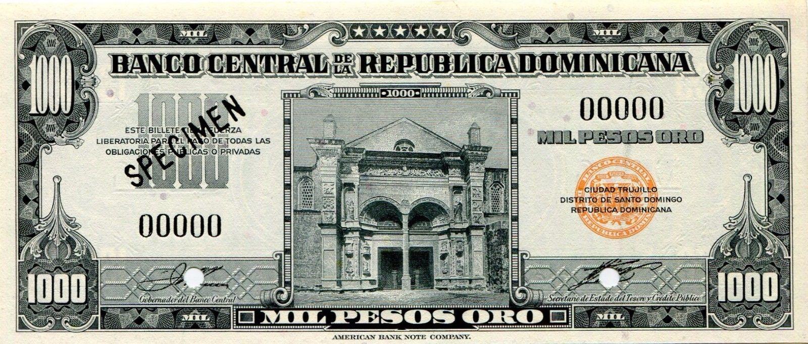 Especimen de billete 1000 pesos. República Dominicana