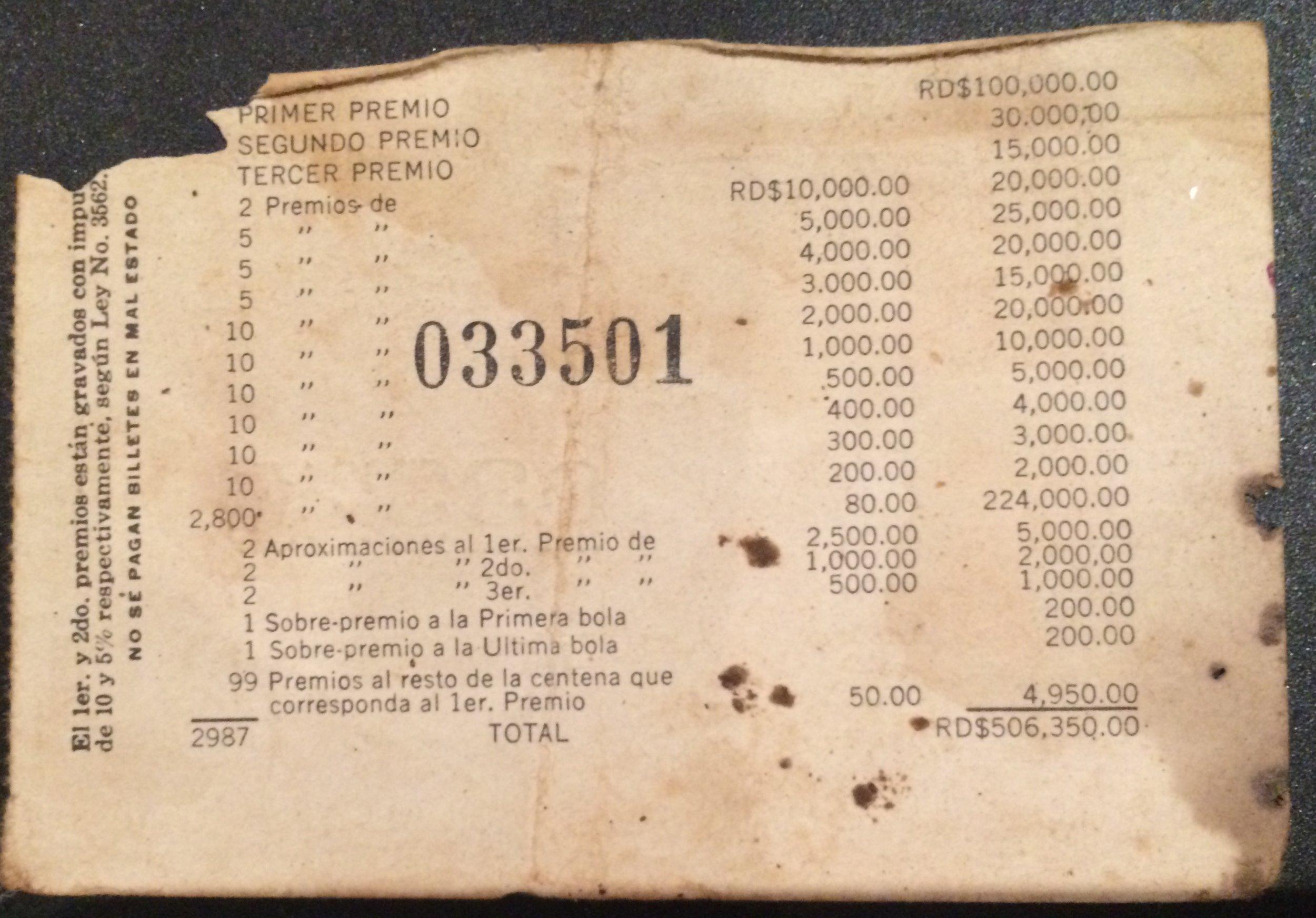 Billete de Lotería. República Dominicana