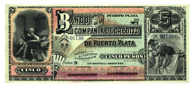 Banco Compañía de Credito de Puerto Plata. 5 pesos. Republica Dominicana