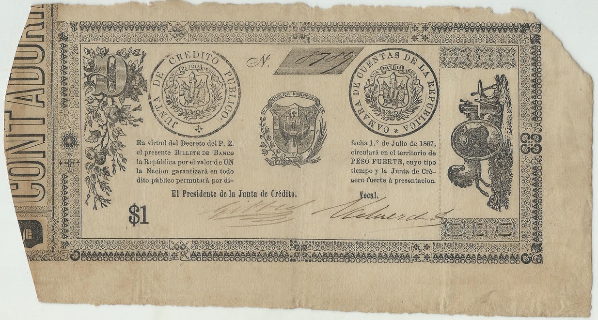 Billete de 1 peso. Republica Dominicana. Segunda Republica