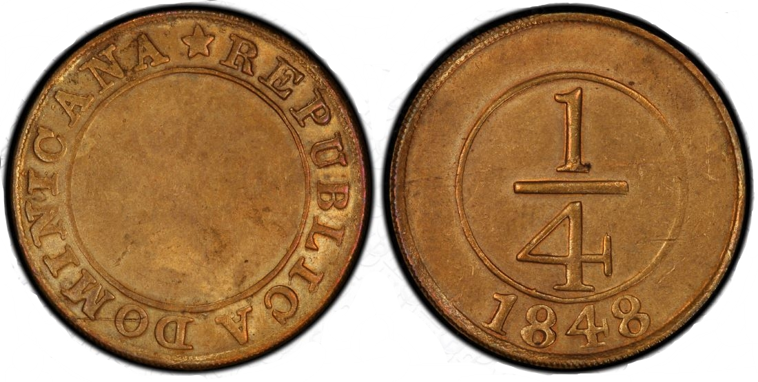 moneda 1/4. Republica Dominicana. 1848