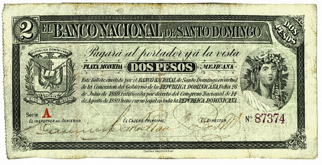 Billete 2 pesos. Banco Nacional de Santo Domingo