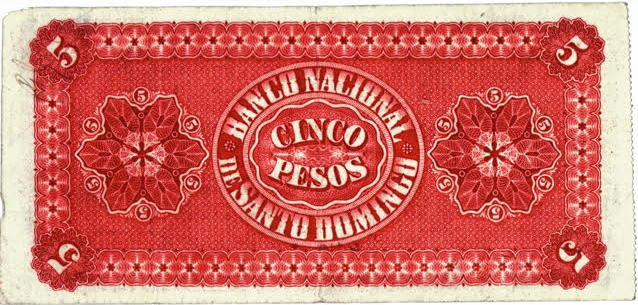 Billete 5 pesos. Banco Nacional de Santo Domingo 1889