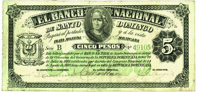 Billete 5 pesos. Banco Nacional de Santo Domingo. 1889