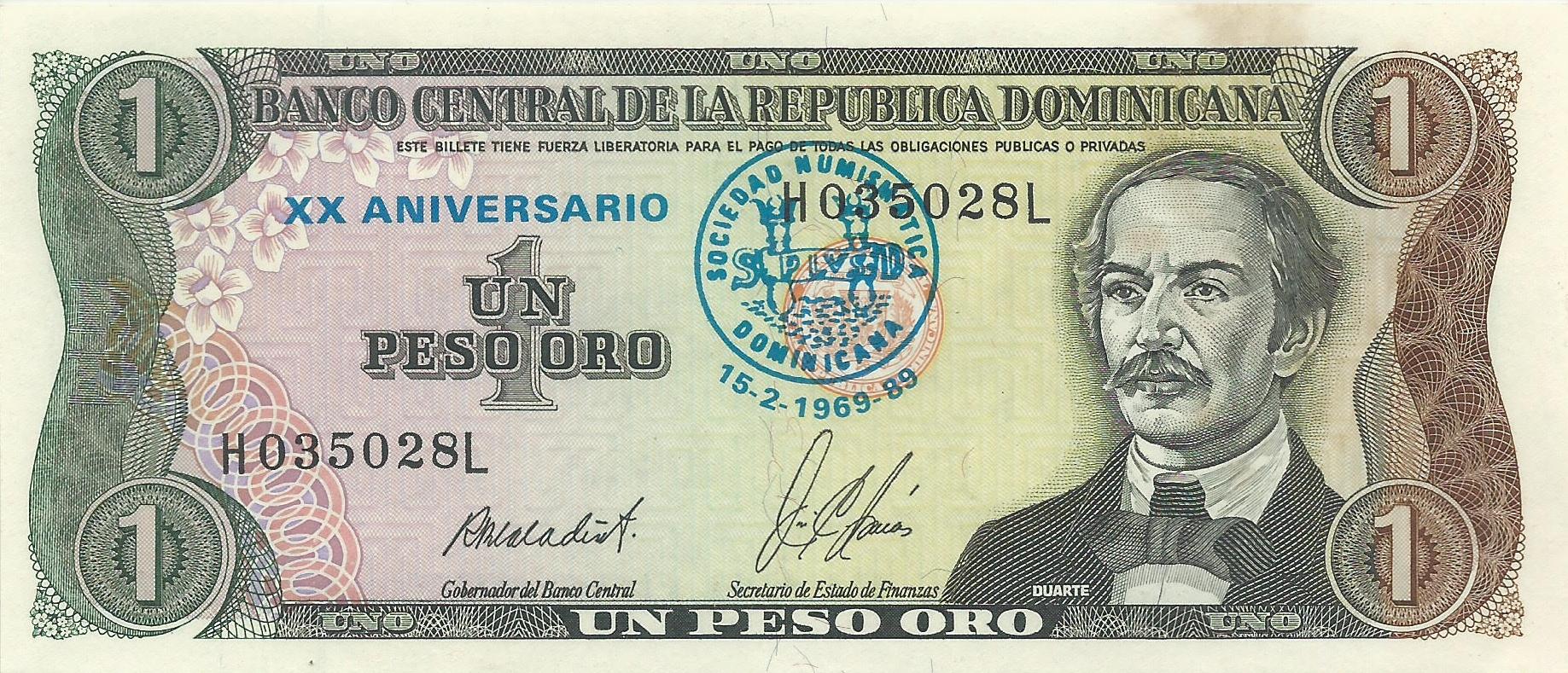 XX aniversario SND. Sobresellado sobre billete de 1 pesos 1879