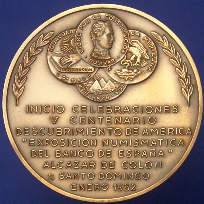 Medalla Exposición numimática del Banco de España. 1982. V Centenario del Descubrimiento de América