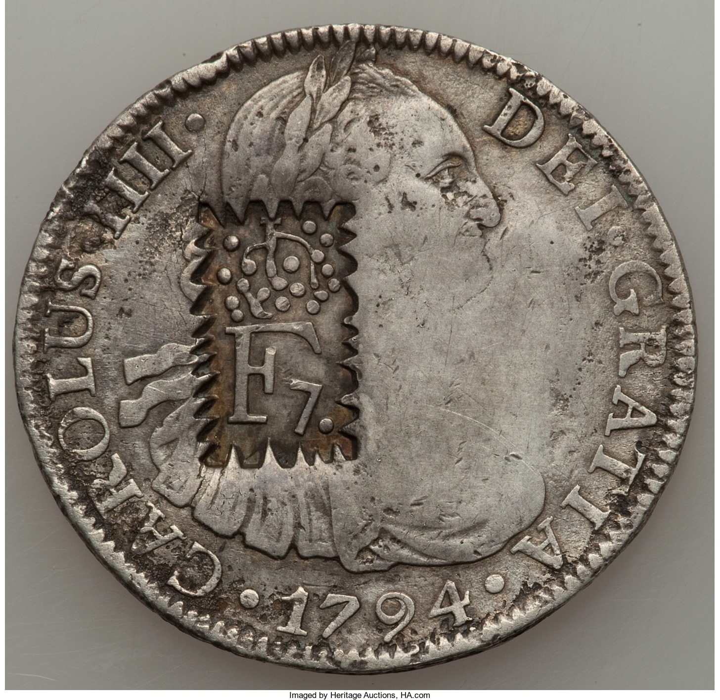 8 reales mexico 1794. Resello contramarca F 7 de fantasia
