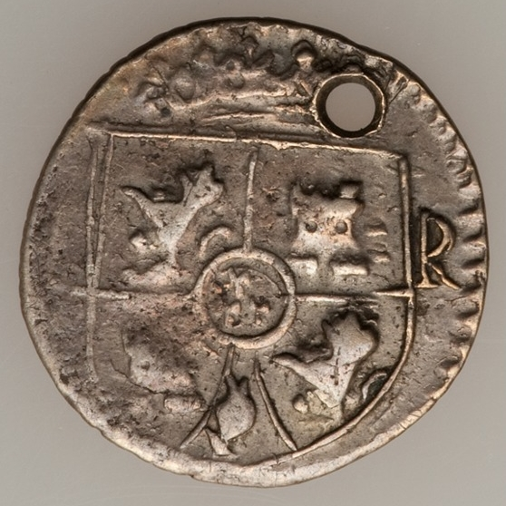 1 real atribuido a Ceca de Santo Domingo. Moneda de necesidad.