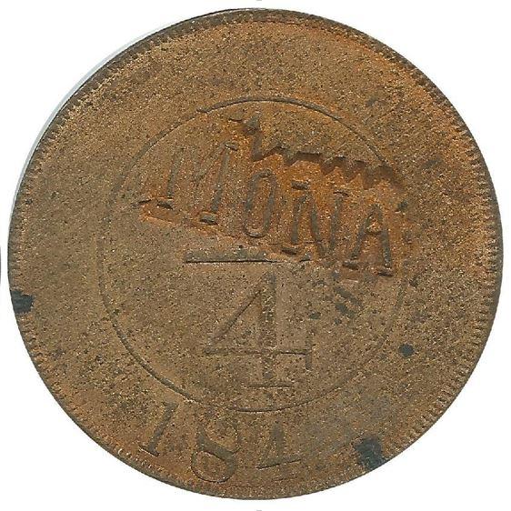 Contramarca MONA sobre un cuarto real 1844. República Domicana. Colección Henríquez