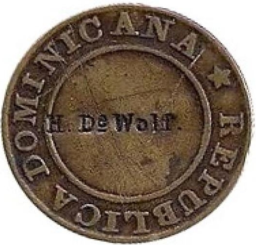Contramarca privada H. Da Wolf, sobre 1 cuarto de real 1848. República Dominicana. Colección Henríquez
