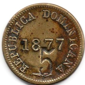 Contramarca privada 5, sobre un centavo de 1877. República Dominicana. Colección Henríquez