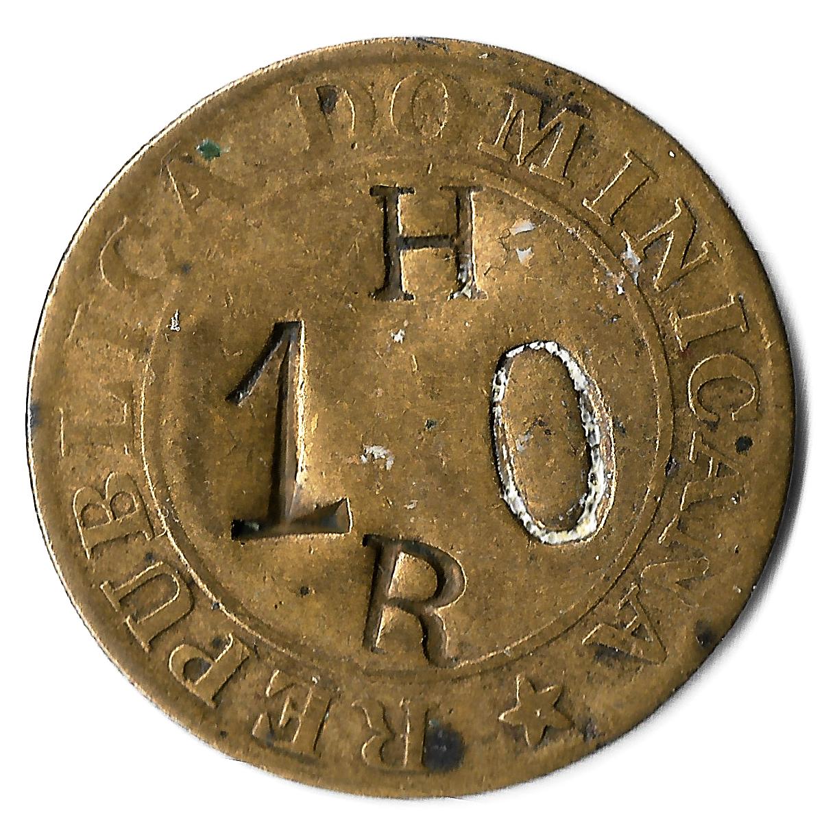 Contramarca privada HR 10, sobre moneda 1/4 de 1844. República dominicana. Colección Núñez