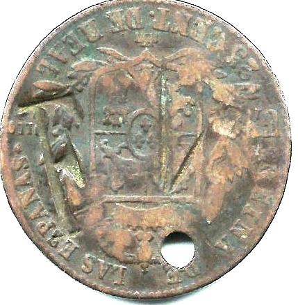 Contramarca privada F1 sobre moneda española 25 cent de Real. Colección Henríquez.