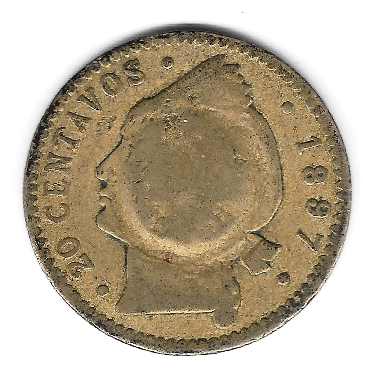 CM escudo sobre 20 ctv 1897 r