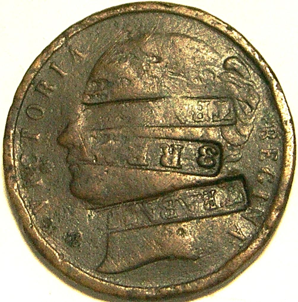 Contramarca privada Trabajo 3 reales, sobre medalla inglesa Crystal Palace 1851. Colección Núñez