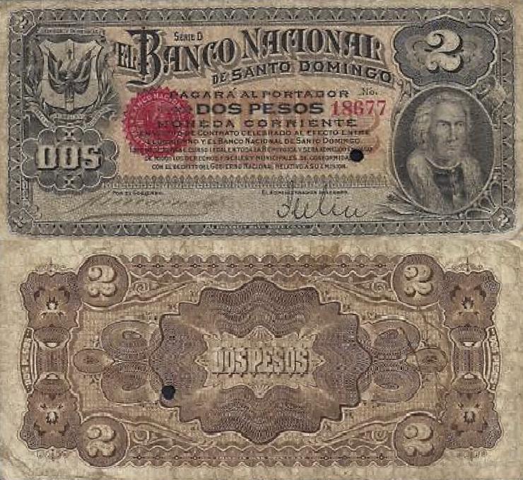 Billetes de 2 pesos. Banco Nacional de Santo Domingo. 1898-1899. Papeletas de Lilis. Republica Dominicana