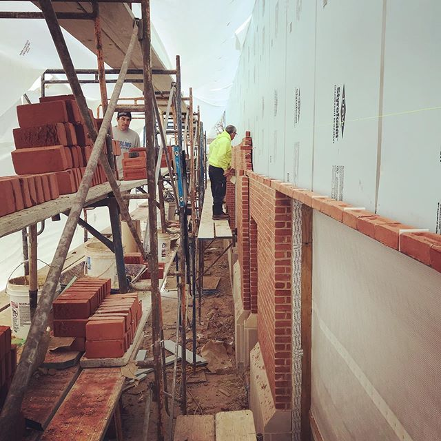 Progress on the rear elevation. #masonry #brick #concrete #caststone #commercialconstruction #architecture #modernarchitecture #construction