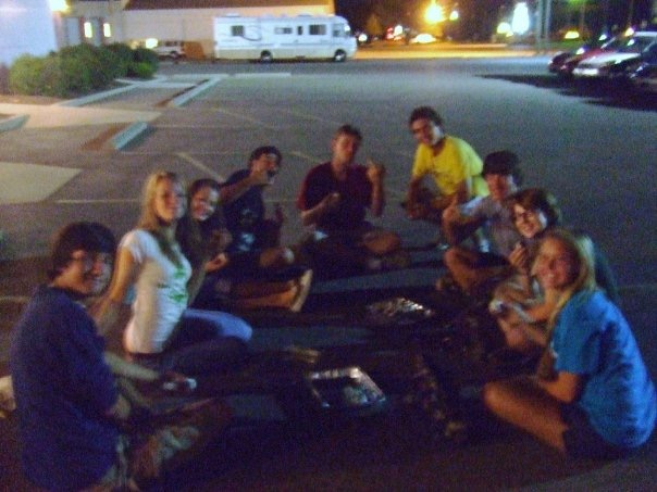 Some of my former Kings Island coworkers enjoying cake balls in the parking lot of a bowling alley. We all start somewhere! (And yes, I know my friend is flipping off the camera in the background)