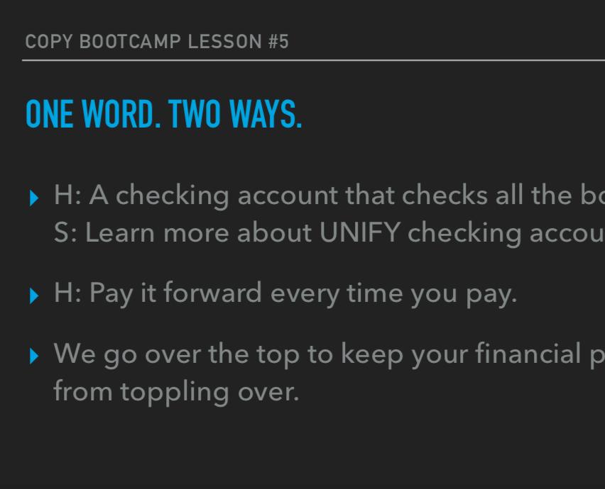 Copy Bootcamp/Creative consultation