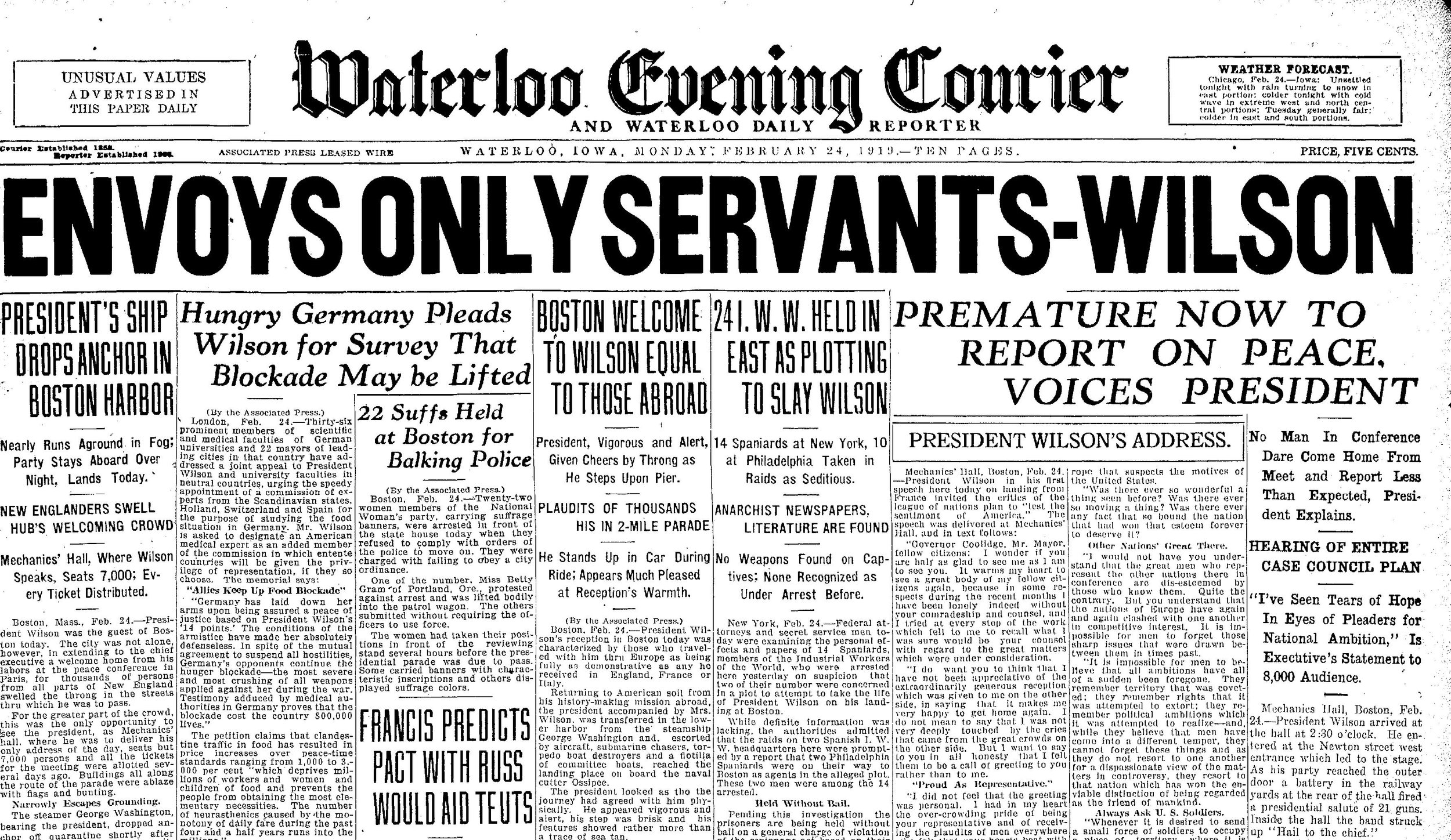 Front page of the Waterloo Evening Courier 2/24/1919