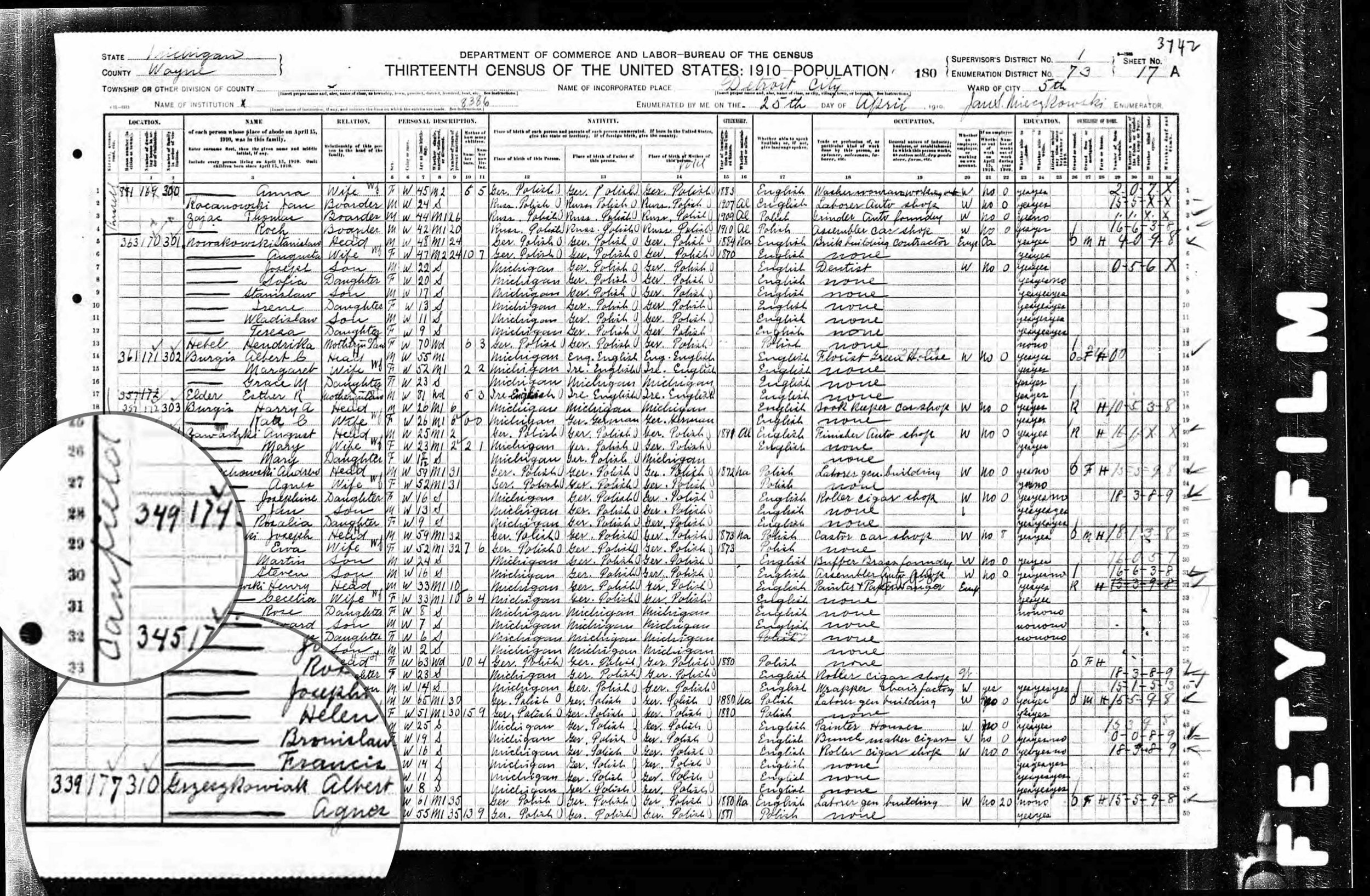 1910 Detroit Census - East Canfield