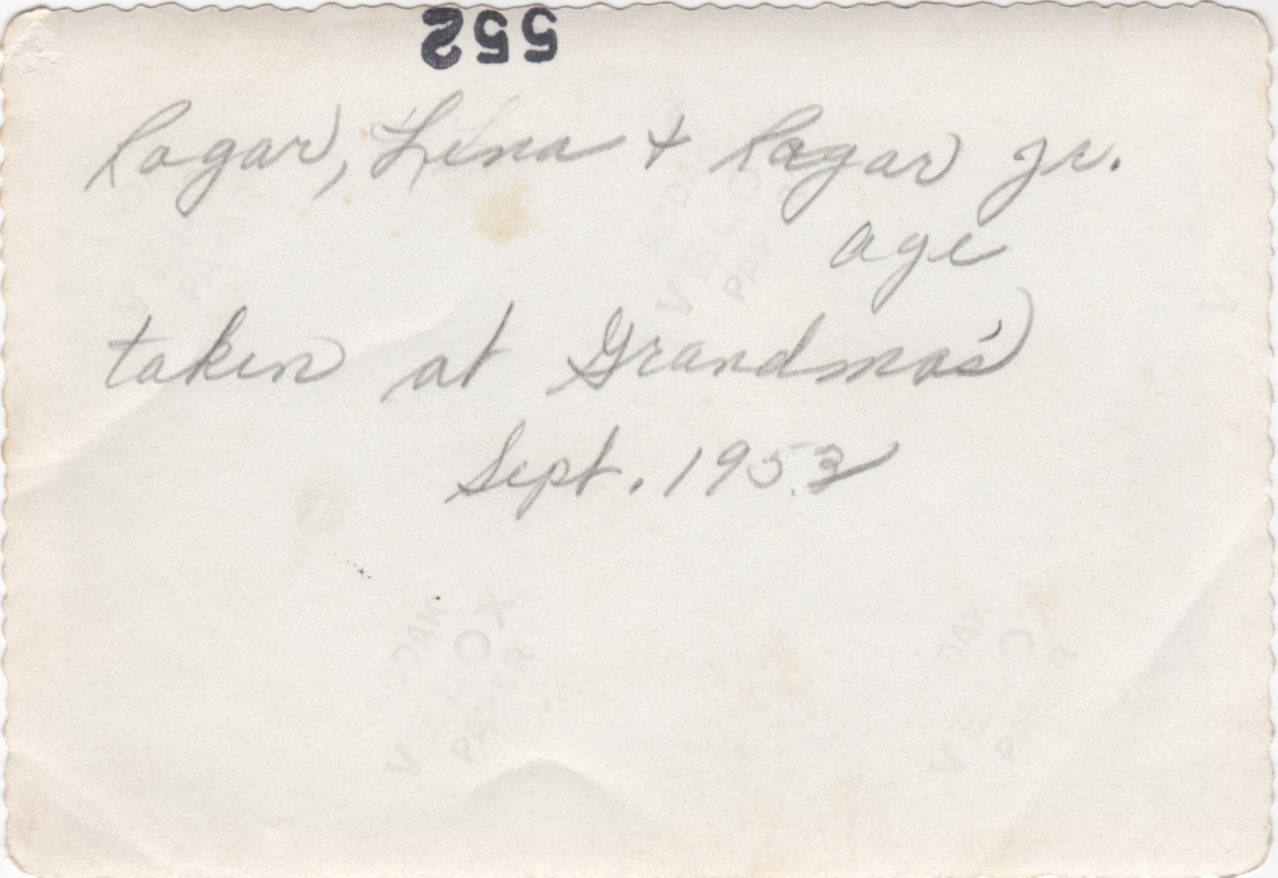 Ragar, Lina and Ragar Jr. - 1953 (back)