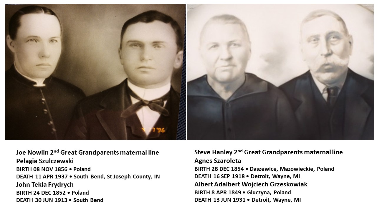 """I've attached a side by side comparison of our 2nd Great Grandparents on the maternal side and although the portraits were done many years apart, the subjects did live at about the same time and it is interesting as the women probably share much the same mtDNA that was passed to us."" - Joseph Nowlin, April 2017"