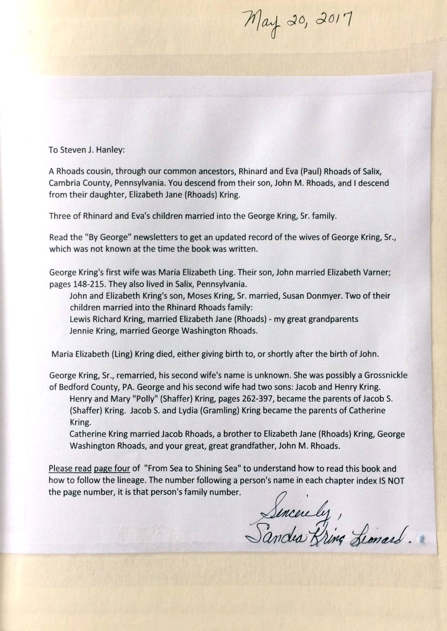 Inscription for Sandra Kring Leonard in   From Sea to Shinning Sea: The Kring Family