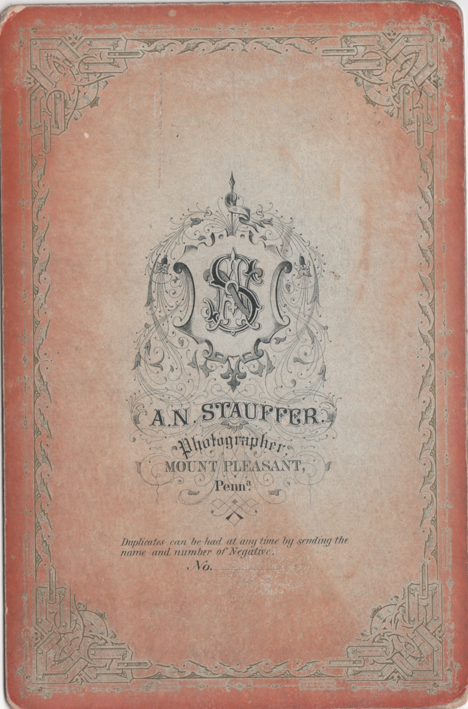 A.N. Stauffer - Photographer - Mount Pleasant, Penna