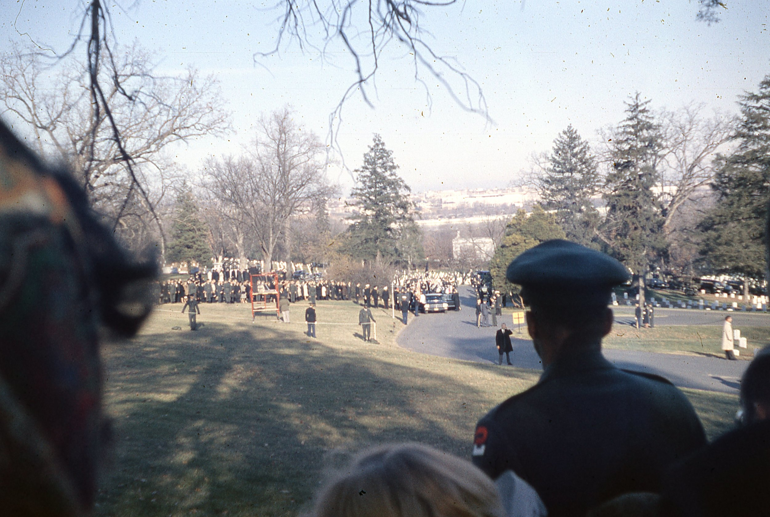 If you zoom on on this one you can see JFK's flag draped casket before it is removed.