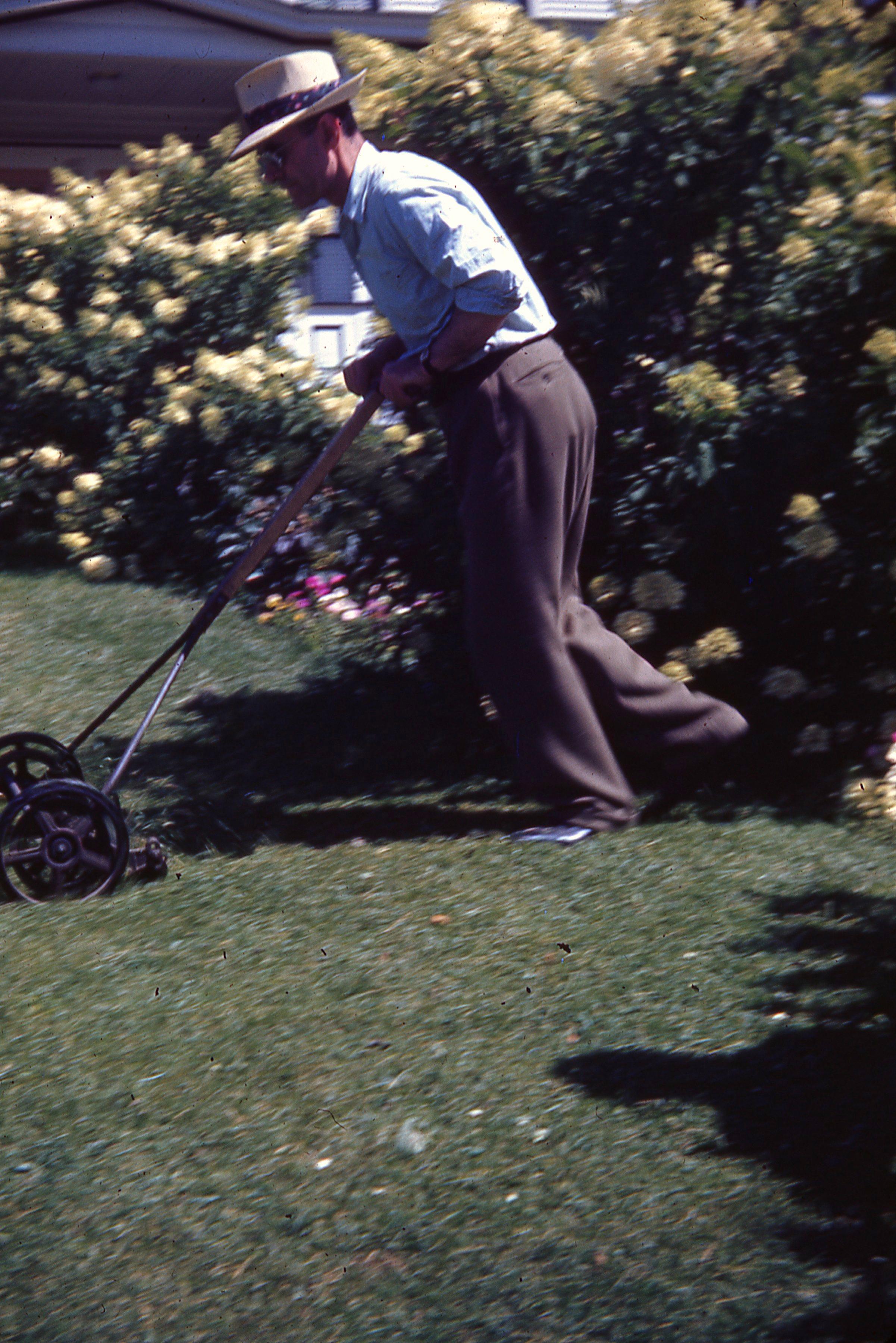 """Pop Mowing Lawn"" Kodachrome Photo Slide 1941-1949"