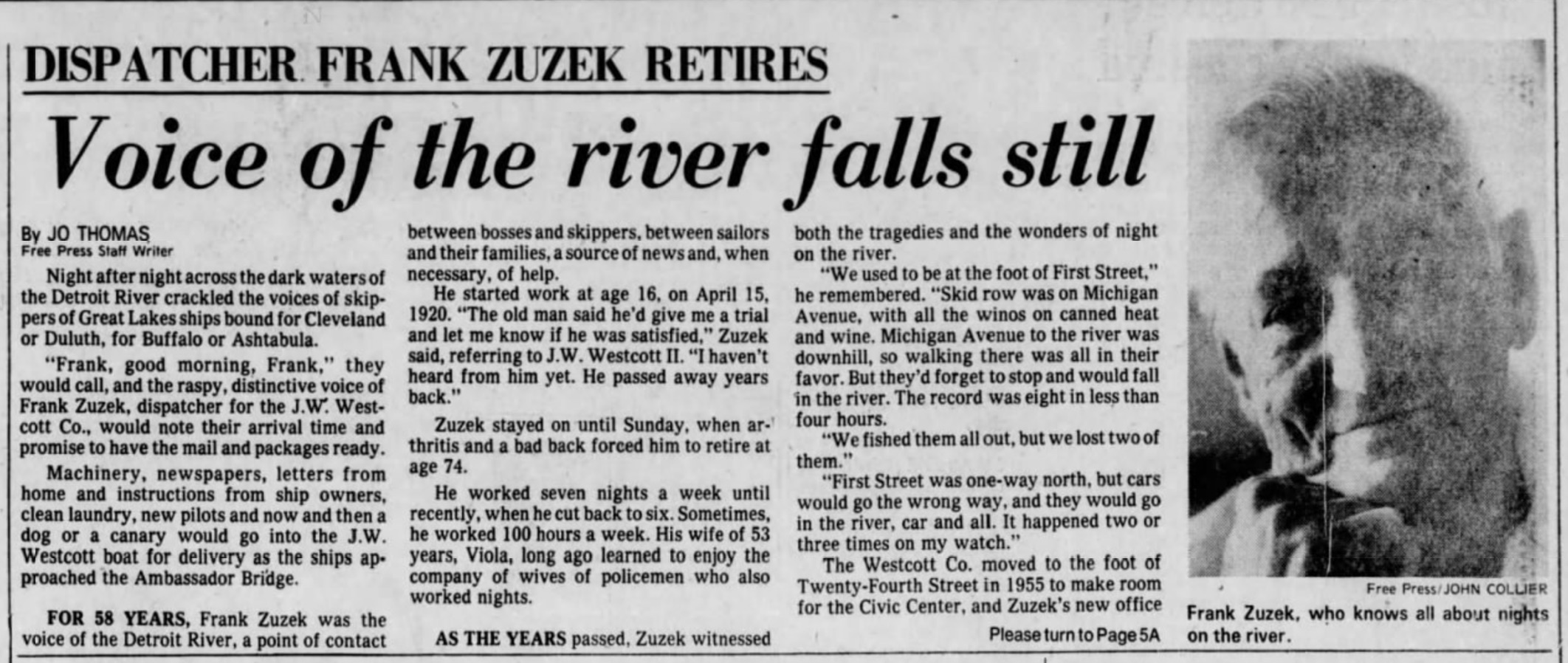 Detroit Free Press August 17, 1978 - Retirement of Frank Zuzek