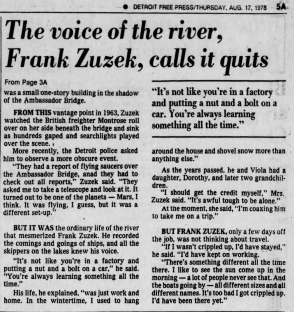 Detroit Free Press August 17, 1978 - Retirement of Frank Zuzek (page 2)