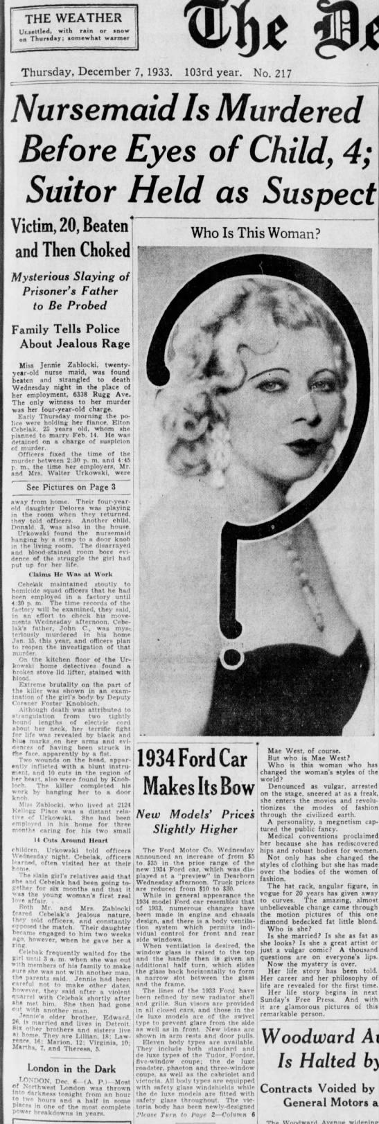 Detroit Free Press 12/7/1933 - page 1