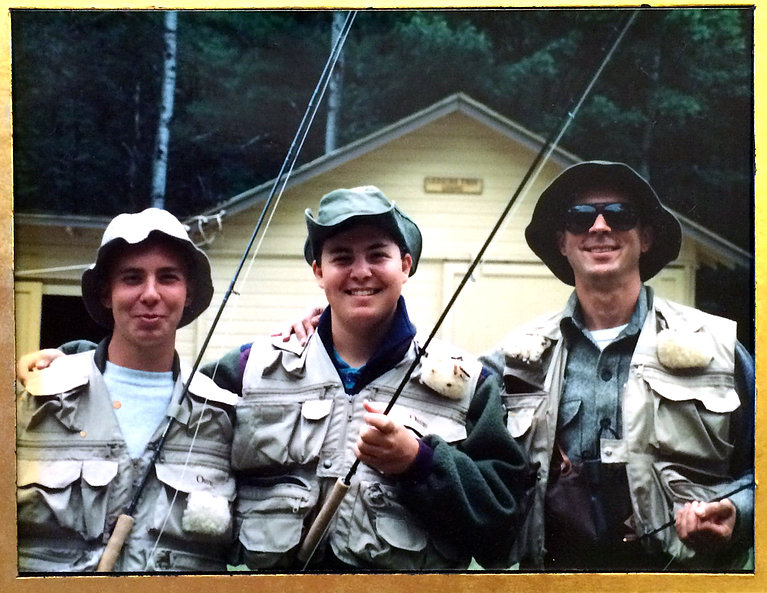 Leaning Tree Lodge on the Au Sable River, Grayling, MI, left to right: brother Brian, Steven (me), Uncle Bill, c. 1993