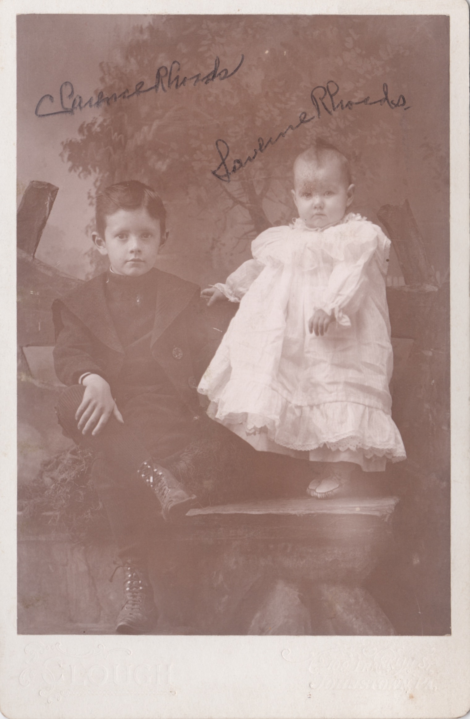 Laverne Rhoads with her older and only sibling,  Clarence O. Rhoads (1893-1964) .