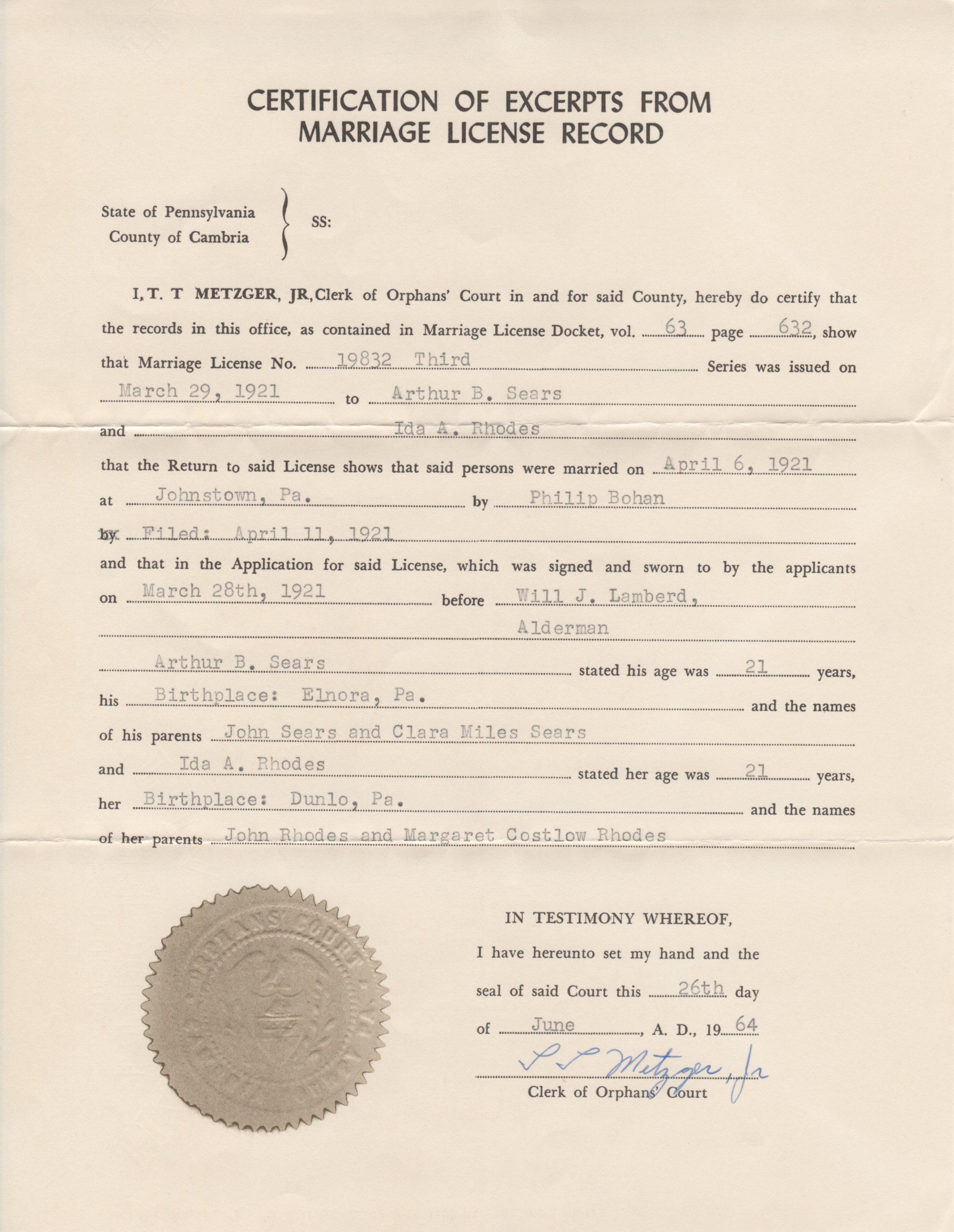Marriage License Record of Arthur B. Sears and Ida Rhoads Sears