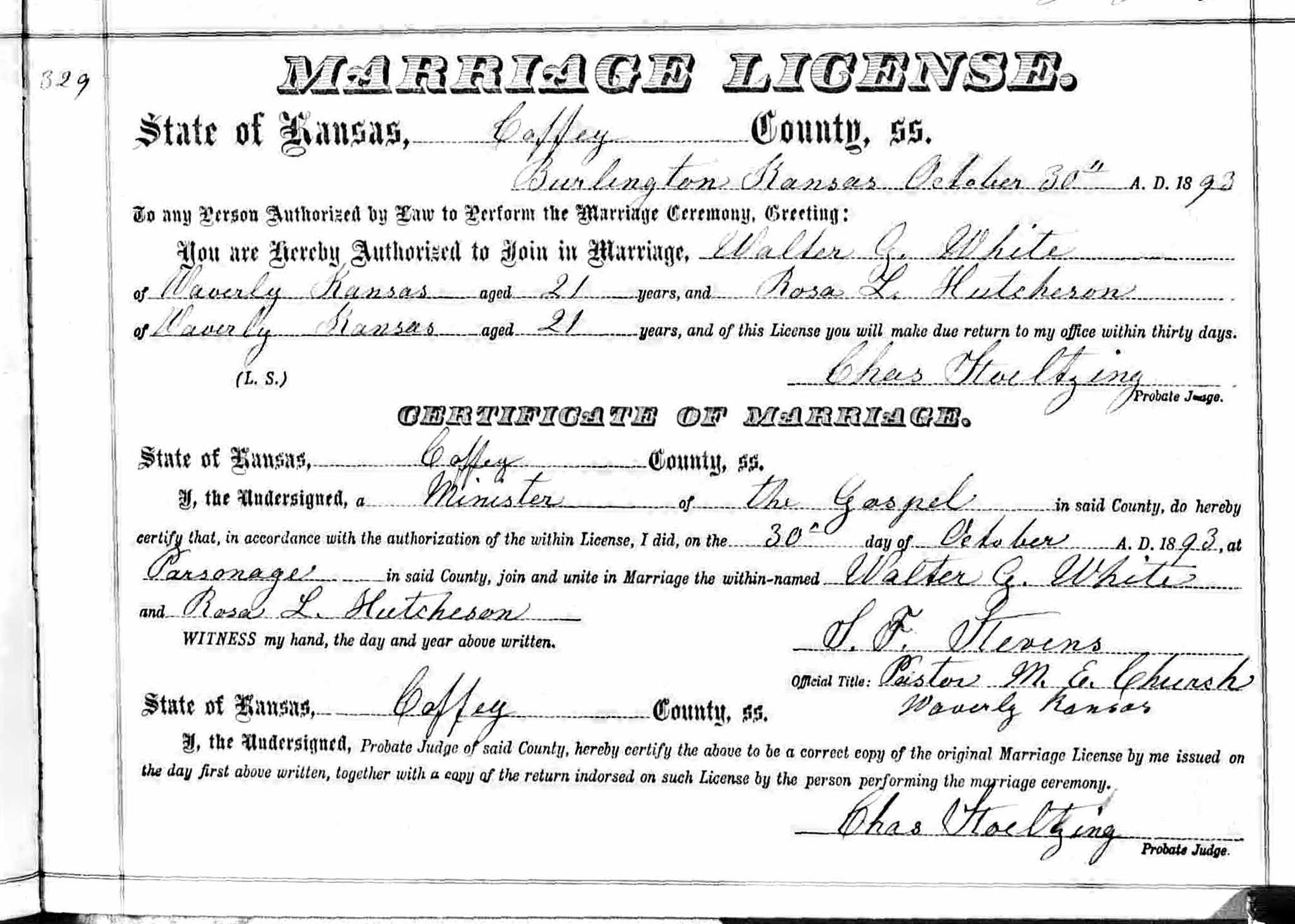Marriage License of Walter G. White and Rosa L. Hutcheson 10/30/1893