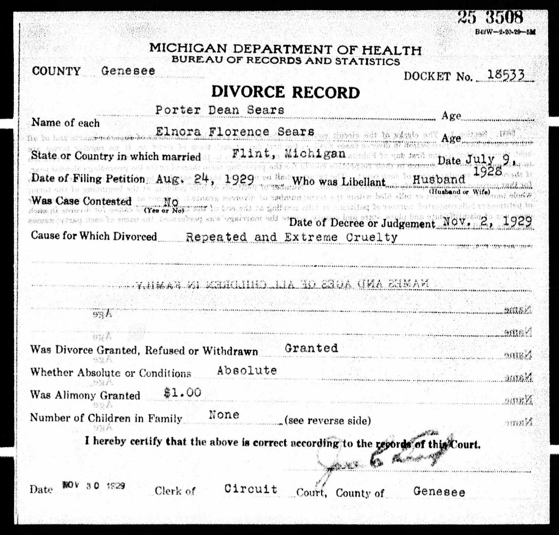 Divorce Record of Porter Dean and Elnora Sears 1929