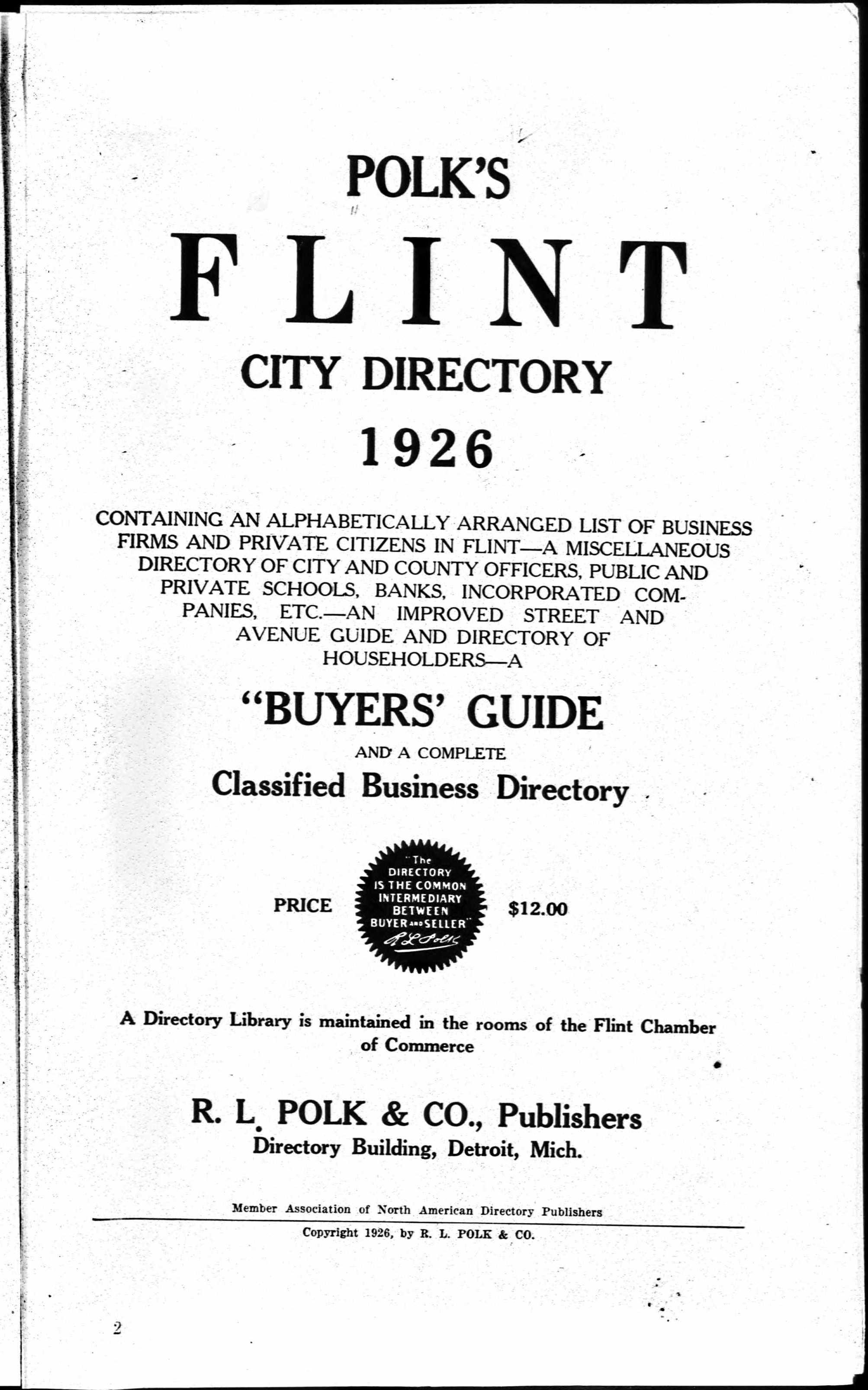 Flint City Directory 1926
