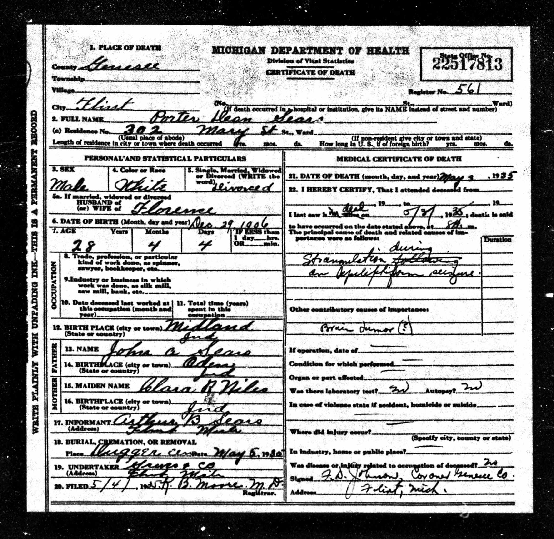 Porter Dean Sears (1906-1935) Certificate of Death