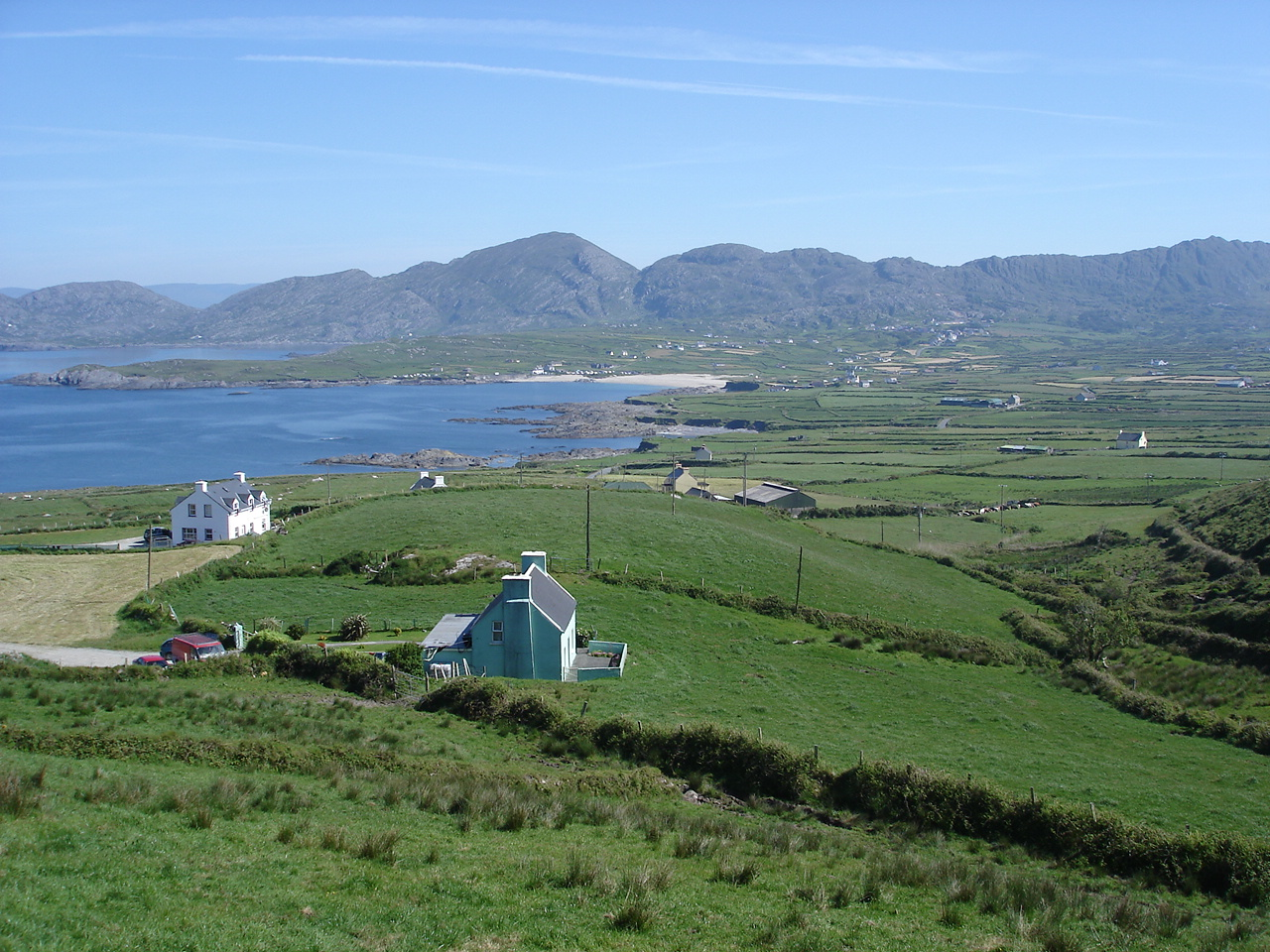 View over Allihies. Ballydonegan Bay is on the left.