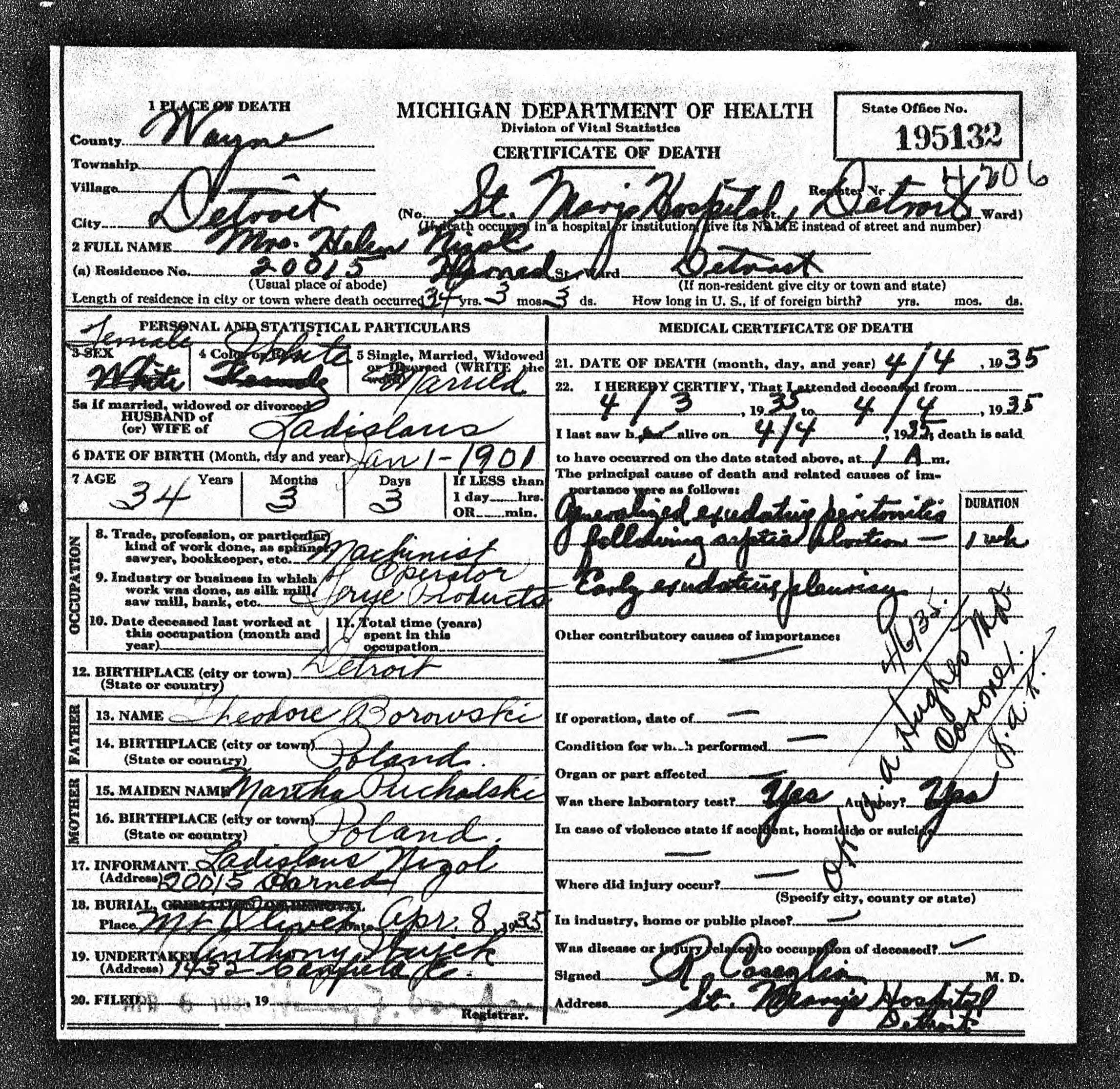 Helen Borowski Nizol (1900-1935) death certificate