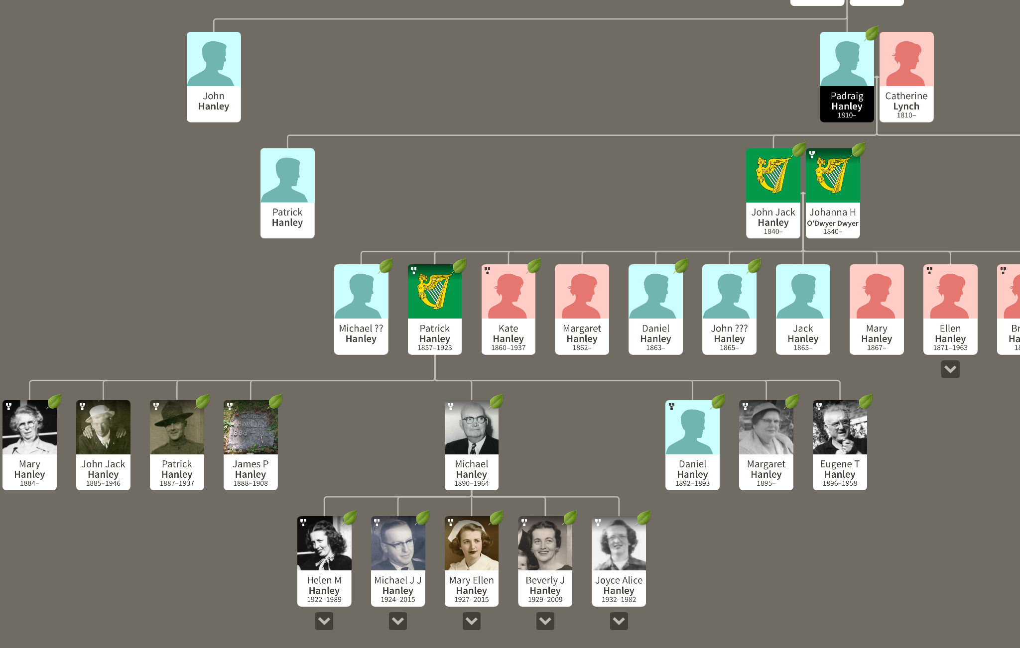 Five Generations of Hanley Men: Padraig > John Jack > Patrick > Michael John > Michael John Jr.