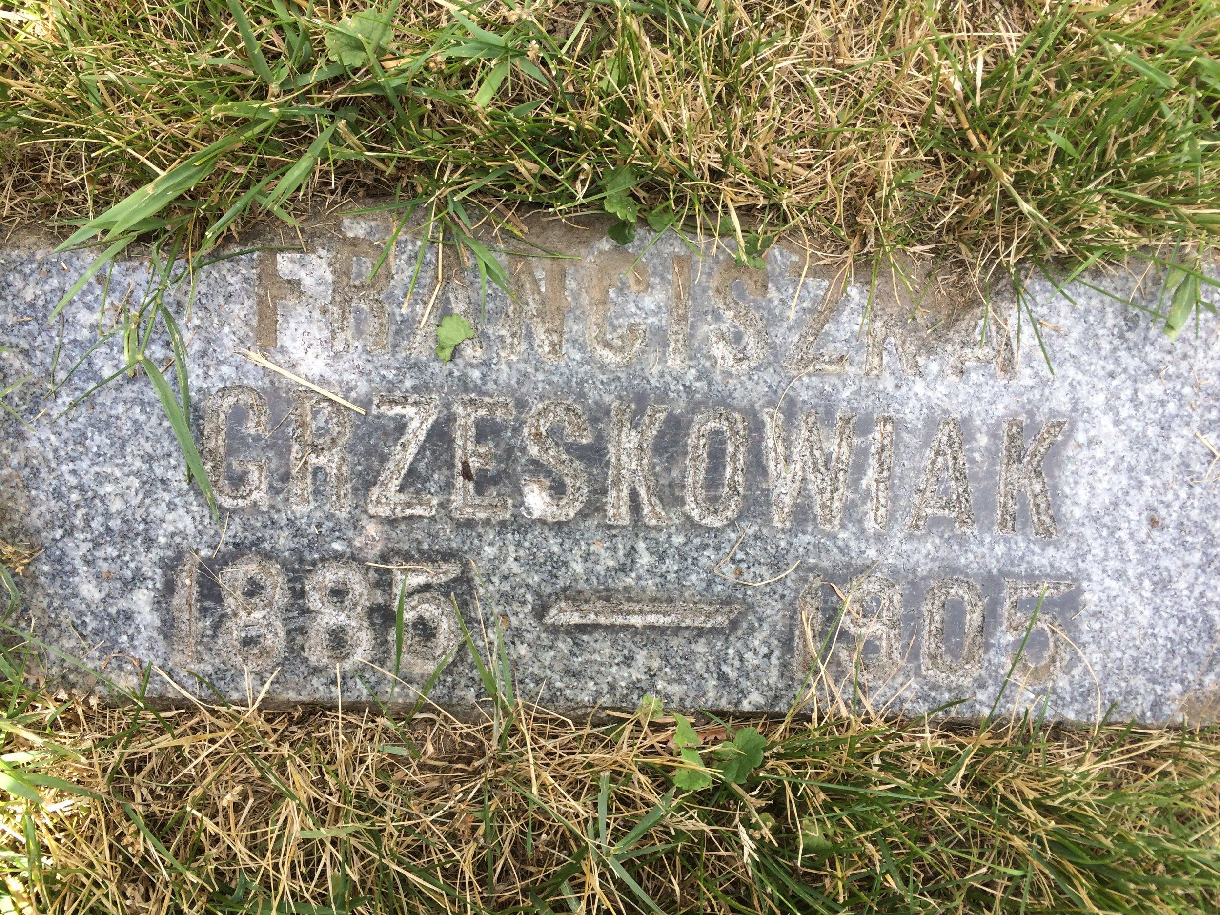 "Franciszka ""Frances"" Grzeskowiak (1886-1905) - Mt. Olivet Cemetery (Detroit)"