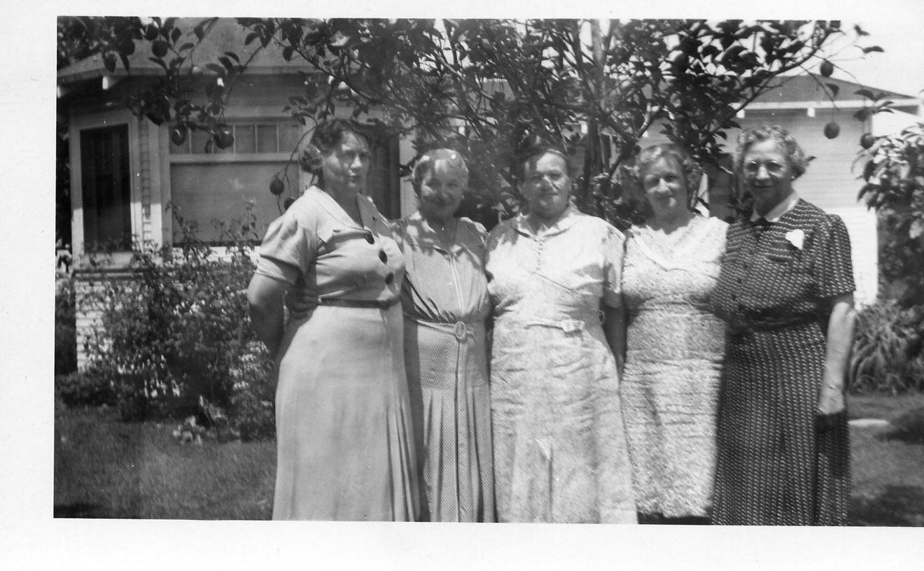 Left to right: 1. Marguerite Ratz Oulette (1898-1985),   2. Emma Schmidt Withem (Lydia's sister), 3. Fannie Schmidt Ratz (Lydia's sister), 4. Harriet Ratz (1919 - ?; Alma's niece, Lydia's grandniece), and 5. Lydia
