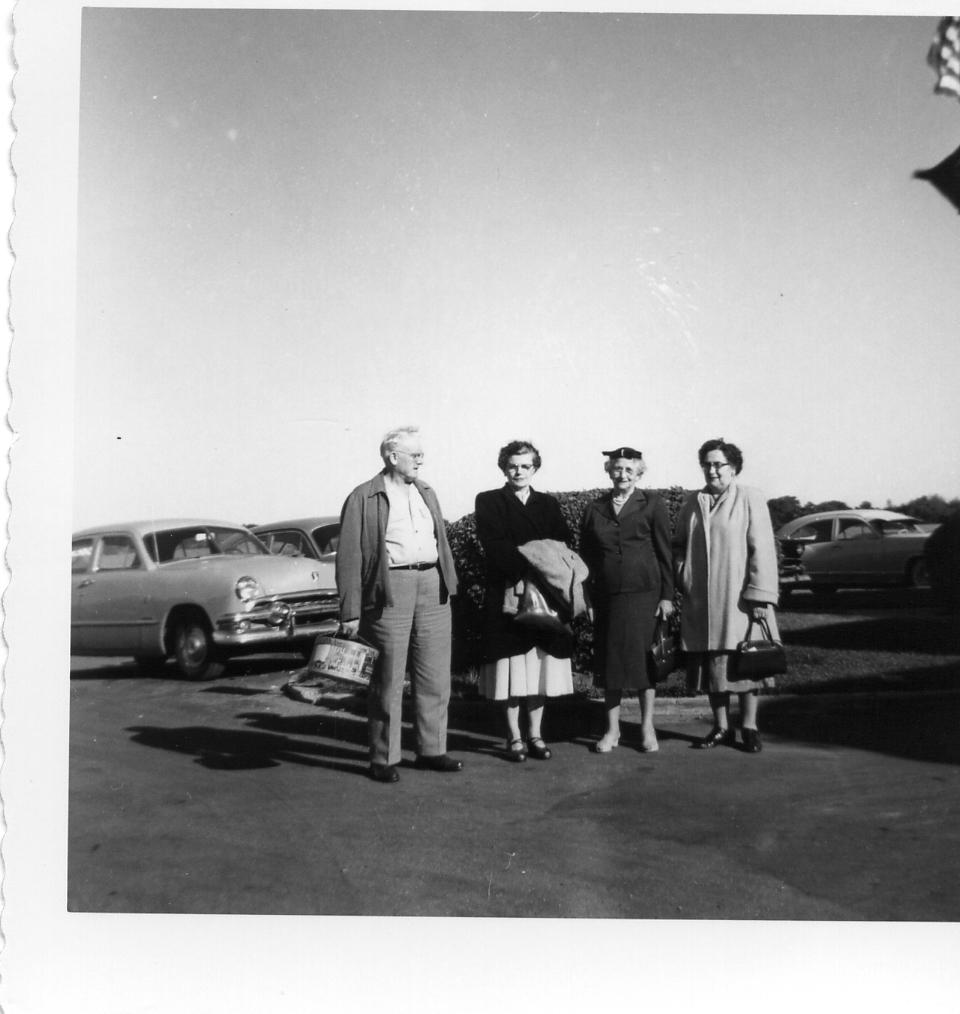 Left to right: Eugene Timothy Hanley (1896-1958), Rose Peterson Hanley (1902-1991), Lydia, Alma Ratz Hanley (1894-1979)