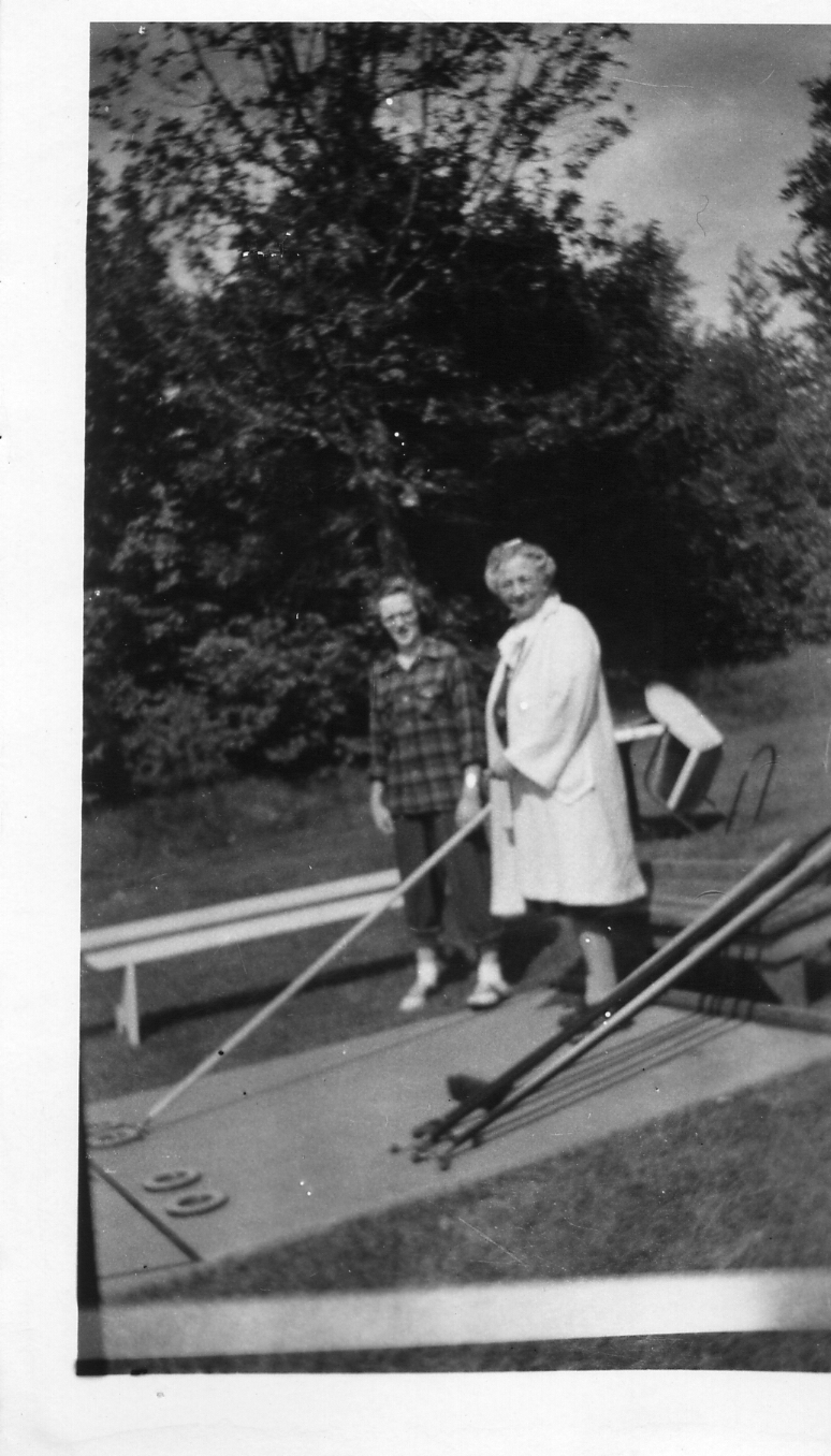 Lydia Schmidt McNamara (1876-1961)  on the right with her grandniece  Joyce Hanley Schnelker (1932-1982)  on the left.