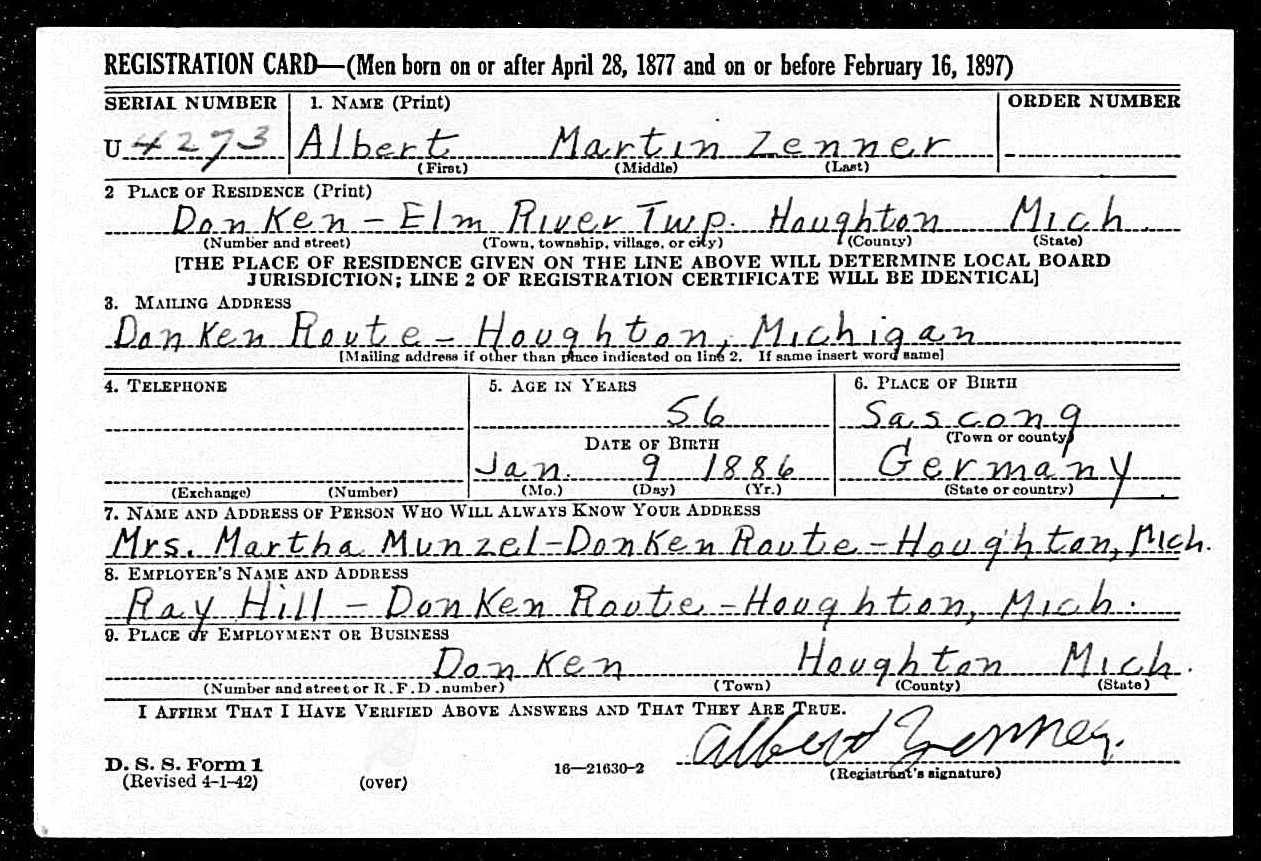 "Albert ""Rabbit"" Zenner WWII Draft Registration Card"