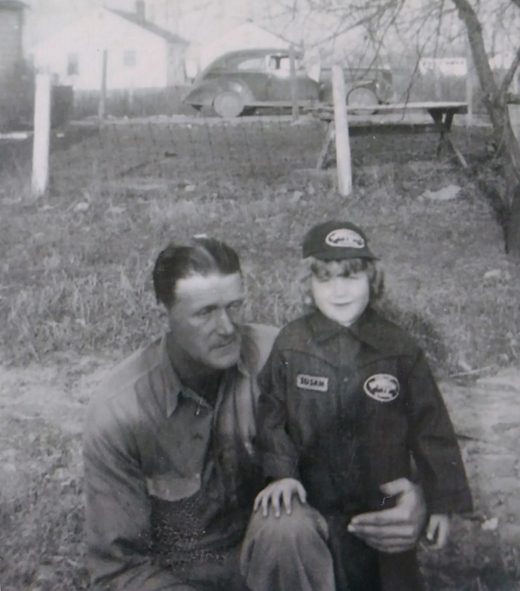 Lurton Bedwell (1909-1973) with his daughter, Sue, in the early 1950s